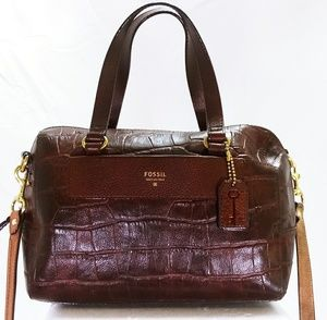 Fossil Brown Leather Vintage Croc Crossbody Satch